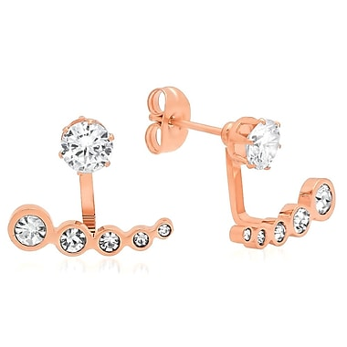 HMY Jewelry 18k Rose Gold Plated Stainless Steel CZ Incline Ear Jacket, 0.8
