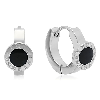 HMY Jewelry Stainless Steel Black Enamel Roman Numeral Huggies, 14mm, Silver