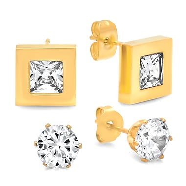 HMY Jewelry 18k Gold Plated Stainless Steel Set of 2 CZ Square & Round Stud Earrings, 6mm Round + 9mm Square, Yellow