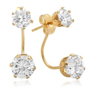 """HMY Jewelry 18k Gold Plated Stainless Steel CZ Drop Earrings, 1"""" L, Yellow"""