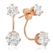 """HMY Jewelry 18k Rose Gold Plated Stainless Steel CZ Drop Earrings, 1"""" L, Rose"""