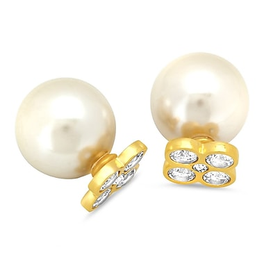 HMY Jewelry 18k Gold Plated Stainless Steel Double Sided Pearl & CZ Flower Earrings, 0.8