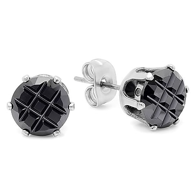HMY Jewelry Stainless Steel X Cut Black CZ Stud Earrings, Silver