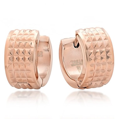 HMY Jewelry 18k Rose Gold Plated Stainless Steel Studded Huggie Earrings, 13mm, Rose