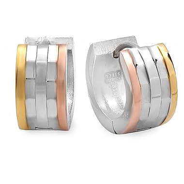 HMY Jewelry Stainless Steel Huggies with 18k Gold Plated & 18k Rose Gold Plated Accents, 20mm, Tri Tone