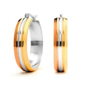 HMY Jewelry 18k Gold Plated, 18k Rose Gold Plated, & Stainless Steel Lined Hoops, 30mm, Tri Tone