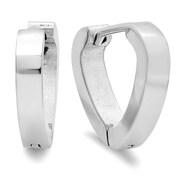 """HMY Jewelry Stainless Steel Heart Hoops, 0.5"""" L x 0.6"""" W, Silver"""