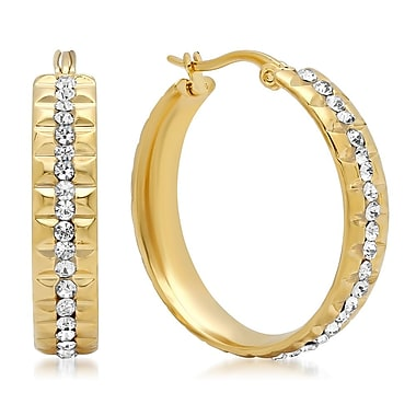 HMY Jewelry 18k Gold Plated Stainless Steel CZ Indented Hoop Earrings, 30mm, Yellow