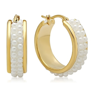 HMY Jewelry 18k Gold Plated Stainless Steel Simulated Pearl Cluster Hoops, 25mm, Yellow
