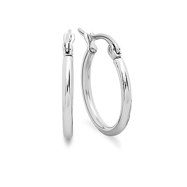 HMY Jewelry Stainless Steel Hoop Earrings, 15mm, Silver