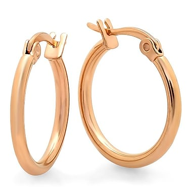 HMY Jewelry 18k Rose Gold Plated Stainless Steel Hoop Earrings, 15mm, Rose