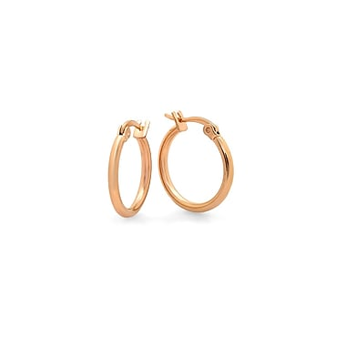 HMY Jewelry 18k Rose Gold Plated Stainless Steel Hoop Earrings, 10mm, Rose