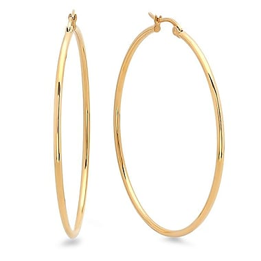 HMY Jewelry 18k Gold Plated Stainless Steel Hoop Earrings, Yellow