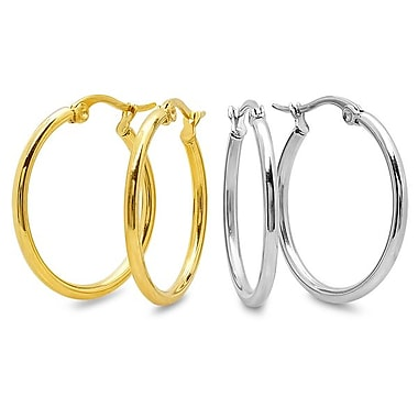 HMY Jewelry Set of 2 Stainless Steel & 18k Gold Plated Hoops, 35mm, Two Tone