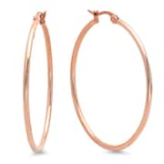 HMY Jewelry 18k Rose Gold Plated Stainless Steel Hoop Earrings, 40mm, Rose