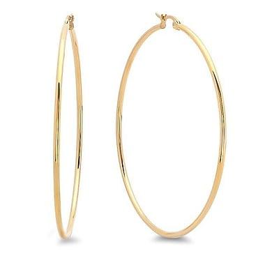 HMY Jewelry 18k Gold Plated Stainless Steel Hoop Earrings, 60mm, Yellow