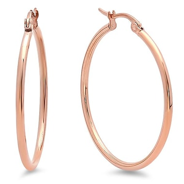 HMY Jewelry 18k Rose Gold Plated Stainless Steel Hoop Earrings, 30mm, Rose