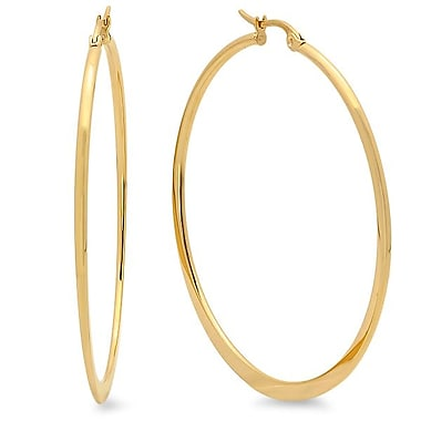 HMY Jewelry 18k Gold Plated Stainless Steel Flat End Hoop Earrings, 50mm, Yellow