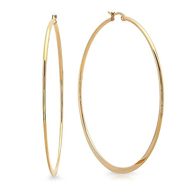 HMY Jewelry 18k Gold Plated Stainless Steel Flat End Hoop Earrings, 70mm, Yellow
