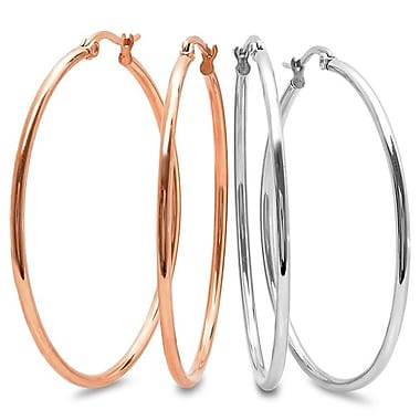 HMY Jewelry Set of 2 Stainless Steel & 18k Rose Gold Plated Hoop Earrings, 50mm, Two Tone