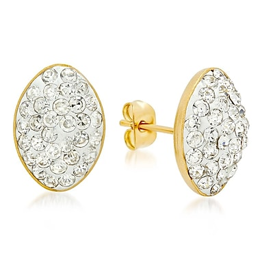 HMY Jewelry 18k Gold Plated Stainless Steel CZ Oval Stud Earrings, 14mm x 10mm, Yellow