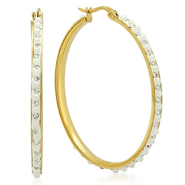 HMY Jewelry 18k Gold Plated Stainless Steel Crystal Lined Hoop Earrings, 40mm, Yellow