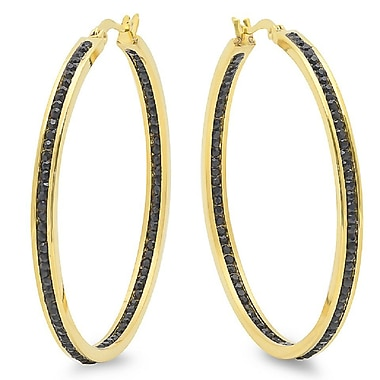 HMY Jewelry 18k Gold Plated Stainless Steel Black CZ In & Out Hoops, 50mm, Yellow