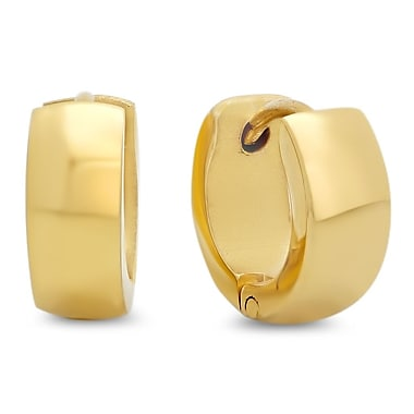 HMY Jewelry 18k Gold Plated Stainless Steel Huggie Earrings, 16mm, Yellow