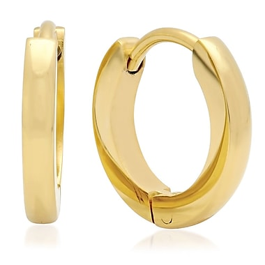HMY Jewelry 18k Gold Plated Stainless Steel Huggie Earrings, 13mm, Yellow