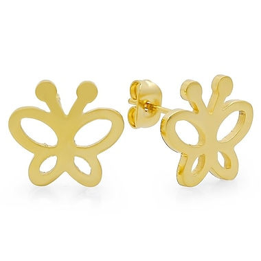 HMY Jewelry 18k Gold Plated Stainless Steel Butterfly Stud Earrings, 0.3