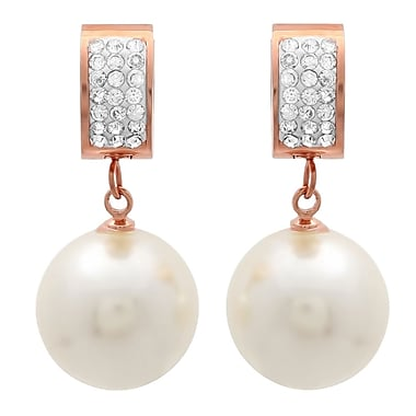 HMY Jewelry 18k Rose Gold Plated Stainless Steel Adorned with Swarovski crystals Simulated Pearl Drop Earrings, 1.4