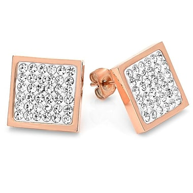 HMY Jewelry 18k Rose Gold Plated Stainless Steel Crystal Square Stud Earrings, 12mm, Rose