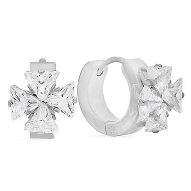 HMY Jewelry Stainless Steel Flower CZ Huggie Earrings, 13mm, Silver