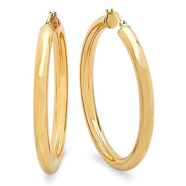 HMY Jewelry Gold Plated Stainless Steel Tube Hoops, 55mm, Yellow