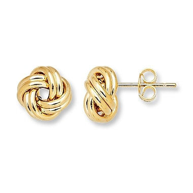 HMY Jewelry 18k Gold Plated Stainless Steel Love Knot Studs, 10mm, Yellow