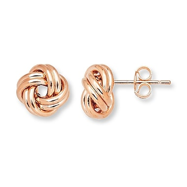HMY Jewelry 18k Rose Gold Plated Stainless Steel Love Knot Studs, 10mm, Rose