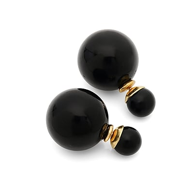 HMY Jewelry 18k Gold Plated Stainless Steel Double Sided Black Pearl Earrings, 16mm + 8mm, Two Tone