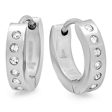 HMY Jewelry Stainless Steel CZ Dotted Huggies, 8mm, Silver