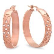 HMY Jewelry 18k Rose Gold Plated Stainless Steel CZ Diamond Cut Hoops, 25mm, Rose