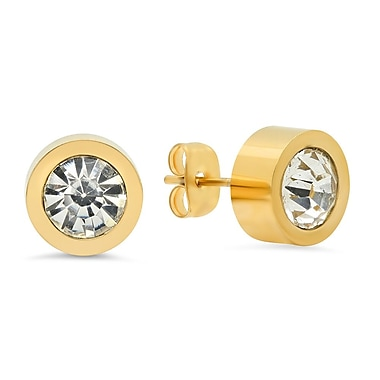 HMY Jewelry 18k Gold Plated Stainless Steel CZ Stud Earrings, 10mm, Yellow
