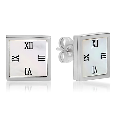 HMY Jewelry Stainless Steel Mother of Pearl Roman Numeral Square Studs, 12mm, Silver