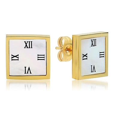 HMY Jewelry 18k Gold Plated Stainless Steel Mother of Pearl Roman Numeral Square Studs, 12mm, Yellow