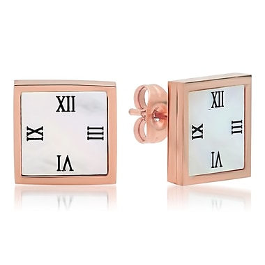HMY Jewelry 18k Rose Gold Plated Stainless Steel Mother of Pearl Roman Numeral Square Studs, 12mm, Rose