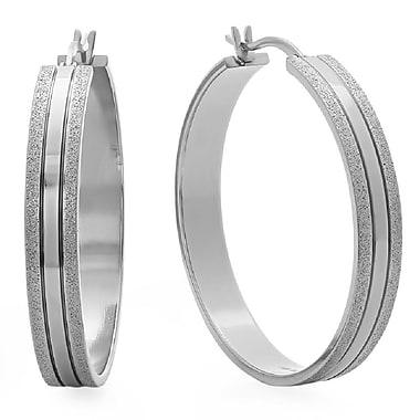HMY Jewelry Stainless Steel Hammered Hoop Earrings, 35mm, Silver