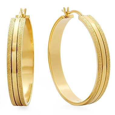HMY Jewelry 18k Gold Plated Stainless Steel Hammered Hoop Earrings, 35mm, Yellow