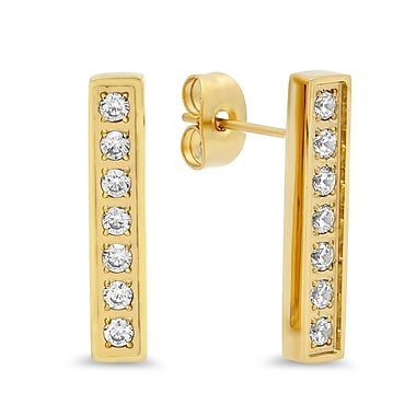 HMY Jewelry 18k Gold Plated Stainless Steel CZ Bar Studs, 0.8