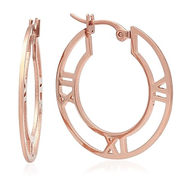 HMY Jewelry 18k Rose Gold Plated Stainless Steel Roman Numeral Hoops, 30mm, Rose