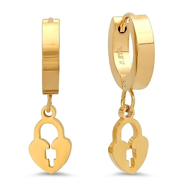 HMY Jewelry 18k Gold Plated Stainless Steel Lock Drop Earrings, 1