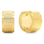 HMY Jewelry 18k Gold Plated Striped Huggies, 14mm, Yellow