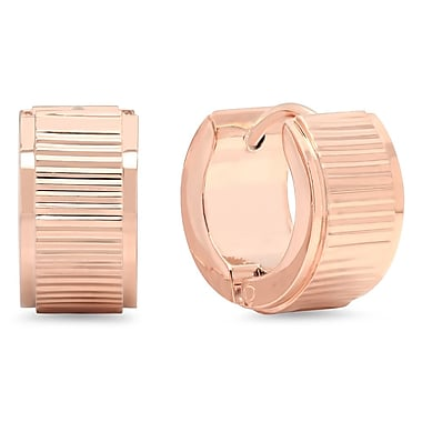 HMY Jewelry 18k Rose Gold Plated Striped Huggies, 14mm, Rose